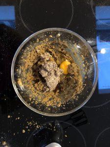 Add egg, vanilla and flaxseed